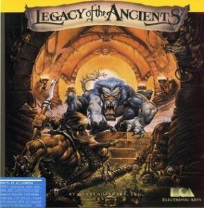 Game box cover for Legacy of the Ancients on the Commodore 64