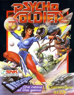 Psycho Soldier game cover, C64 box cover