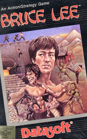 Bruce Lee platformer game, C64 game box cover from the mid 1980s