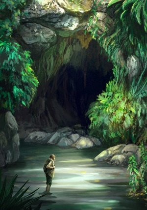 Mysterious Cave (The Lost City of K'aak' Tuucha) - Once of the pieces of art commissioned from illustrator Klaudia Bezak.