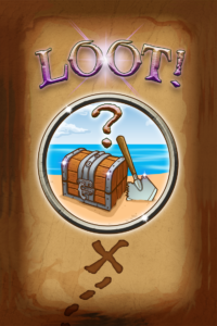 My graphic designer took the treasure chest art and created layers, with text, fades, and more to design this card back for Mint Tin Treasure Hunter.